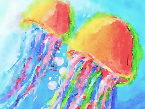 LIVE Virtual Watercolor Class FAMILY ART! Option to order a Take-Home Art Kit - Jellyfish