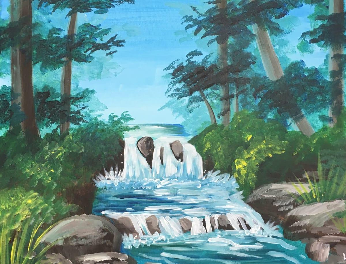 Paint Night Byob 8x10 Waterfall Forest 12