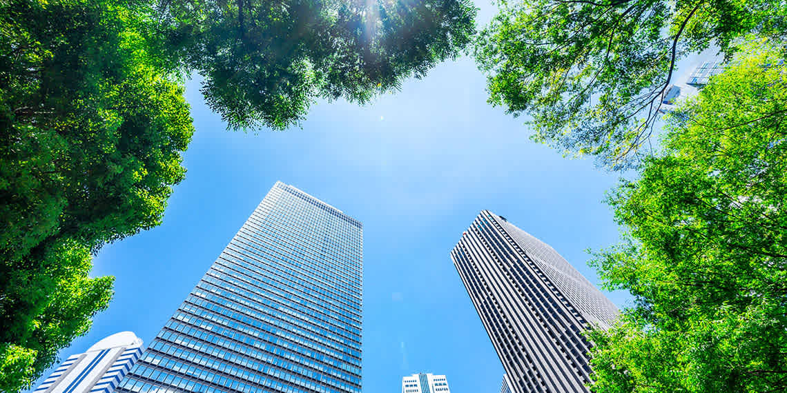 a photo of two skyscrapers