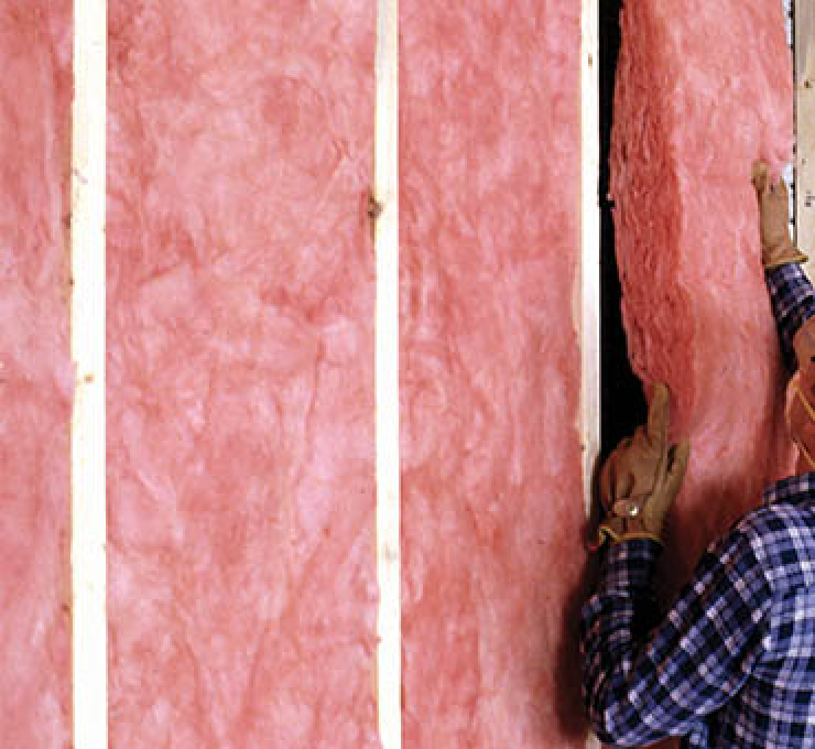 batts of insulation between wall studs