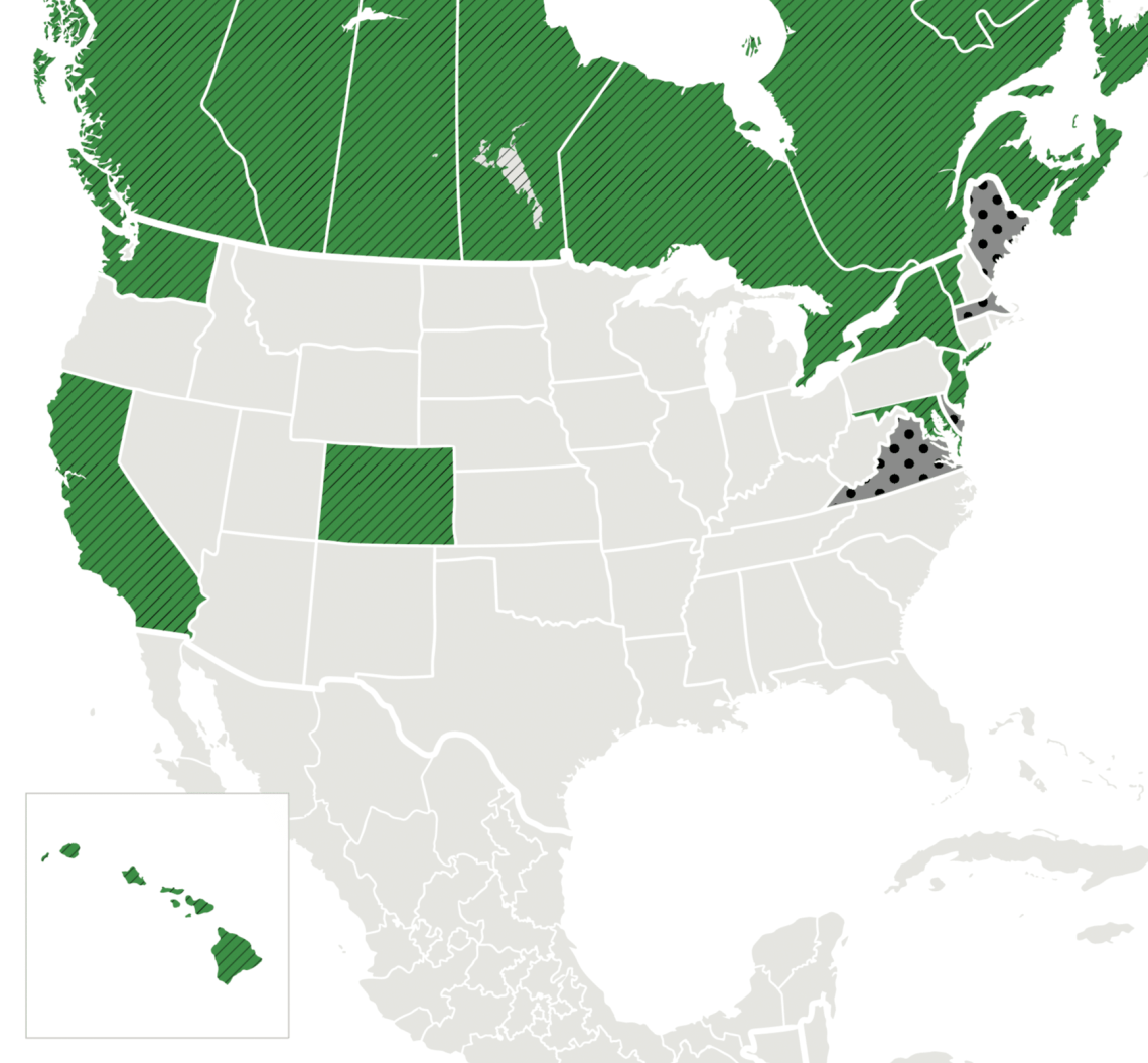map of United States and Canada showing final and proposed laws