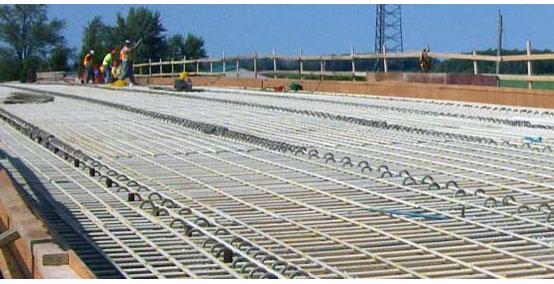 Fiberglas™ rebar construction of a bridge.
