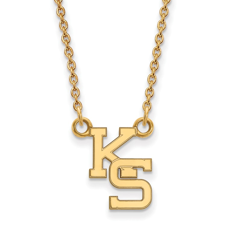 Details about  /Real 10kt Yellow Goldy LogoArt University of Kansas Medium Pendant