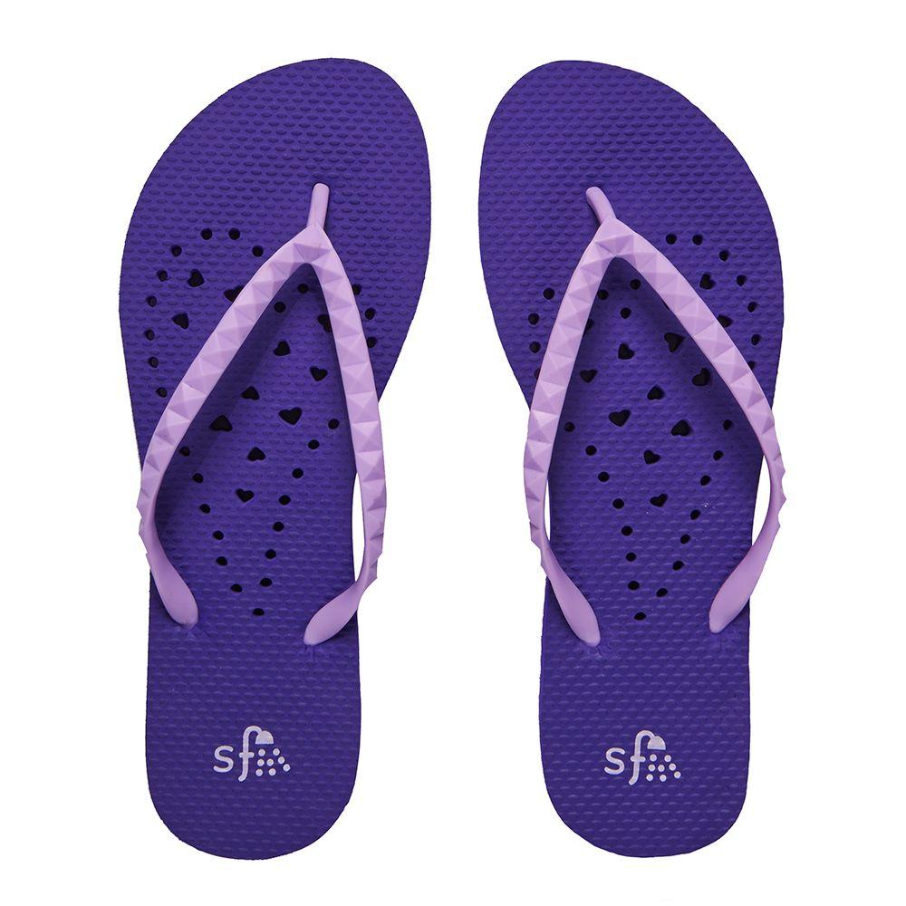Purple Elongated Heart Shower Flip Flops