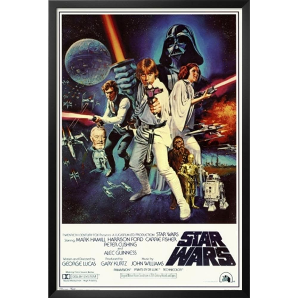 Star Wars Episode Iv New Hope Classic Movie Poster Lamina Framed Poster