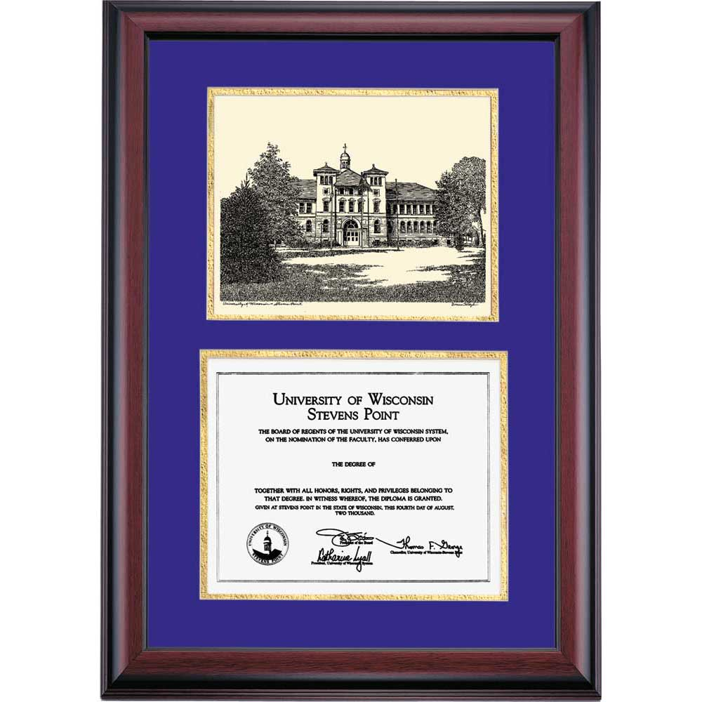 Wisconsin Stevens Point School Color Premier Old Main Pen And Ink Diploma Frame