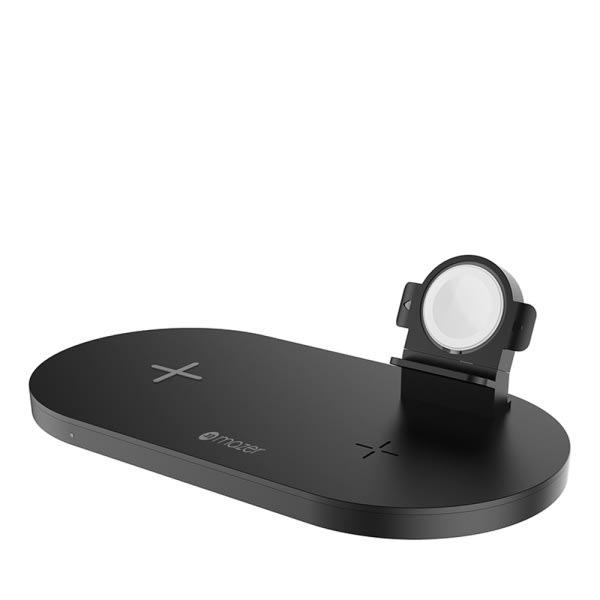 Mazer TRIO 3-in-1 Dual Wireless + Apple Watch Wireless Charging Stand ? Black 0