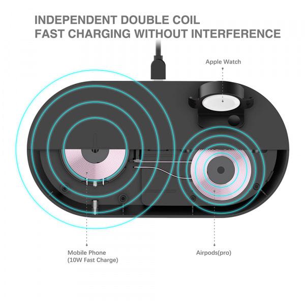 Mazer TRIO 3-in-1 Dual Wireless + Apple Watch Wireless Charging Stand ? Black 2
