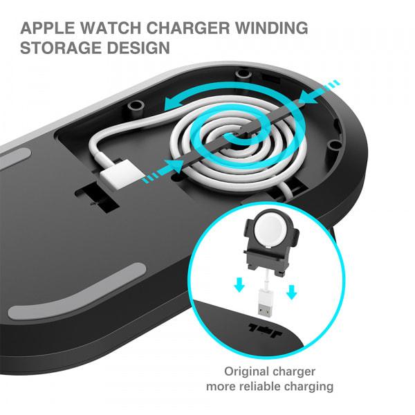 Mazer TRIO 3-in-1 Dual Wireless + Apple Watch Wireless Charging Stand ? Black 4
