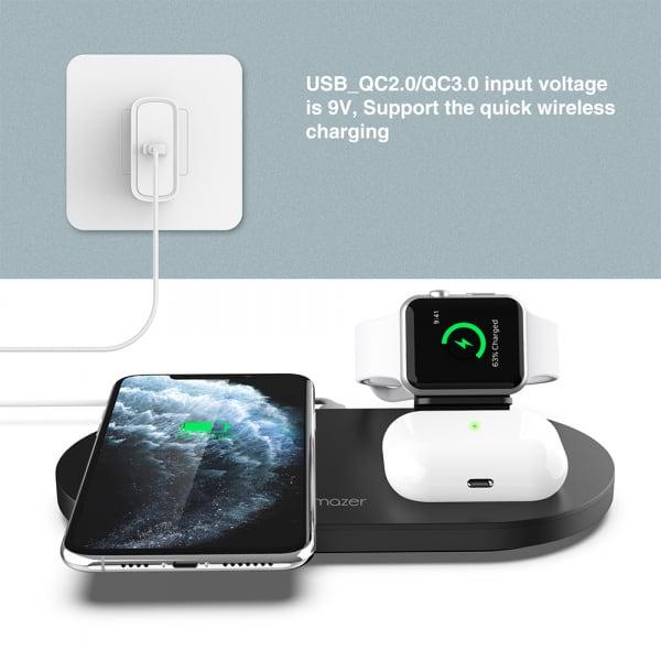 Mazer TRIO 3-in-1 Dual Wireless + Apple Watch Wireless Charging Stand ? Black 5