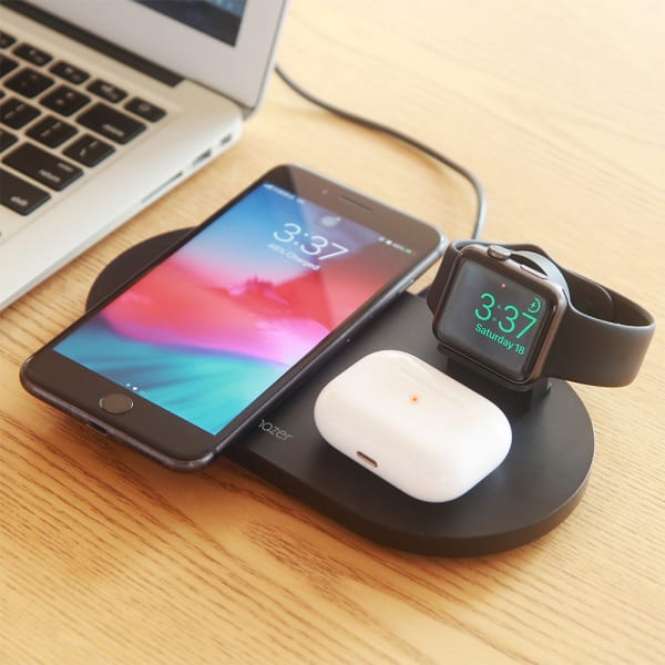 Mazer TRIO 3-in-1 Dual Wireless + Apple Watch Wireless Charging Stand ? Black 7