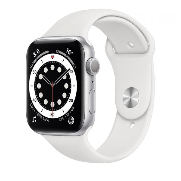 Apple Watch Series 6 GPS 44mm Silver Alum Case White Sport Band 0