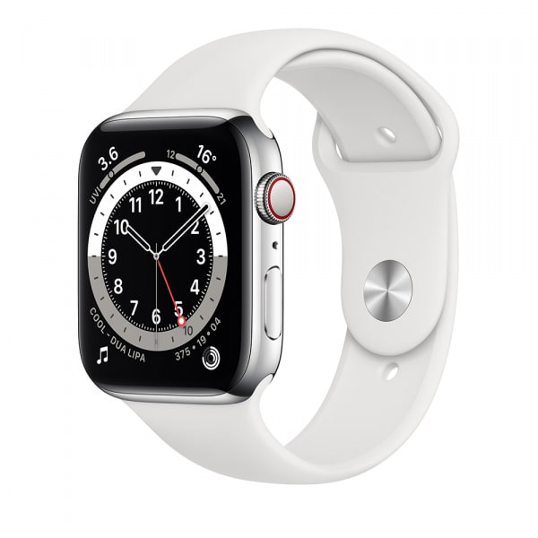 Apple Watch Series 6 GPS + Cellular 44mm Silver S. Steel Case White Sport Band 0