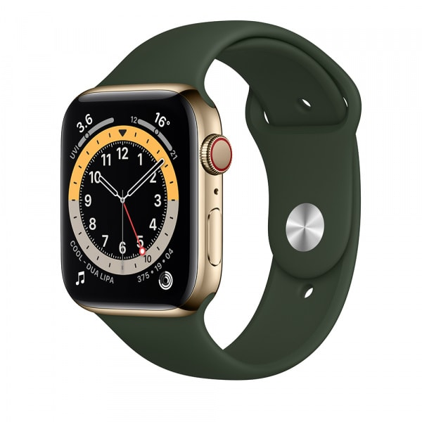 Apple Watch Series 6 GPS + Cellular 44mm Gold S. Steel Case Cyprus Green Sport Band (EOL) 0