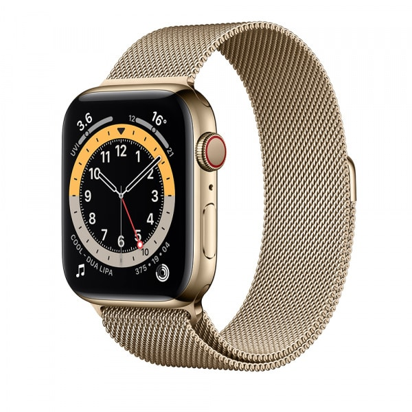 Apple Watch Series 6 GPS + Cellular 44mm Gold S. Steel Case Gold Milanese Loop 0