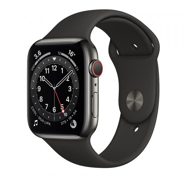 Apple Watch Series 6 GPS + Cellular 44mm Graphite S. Steel Case Black Sport Band 0