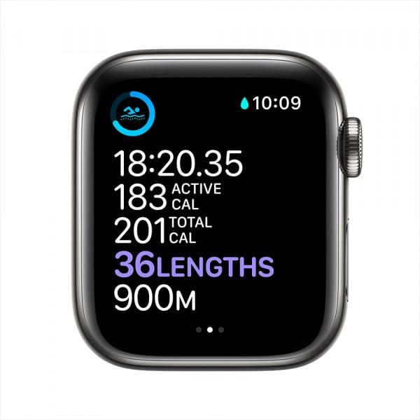 Apple Watch Series 6 GPS + Cellular 44mm Graphite S. Steel Case Black Sport Band 3