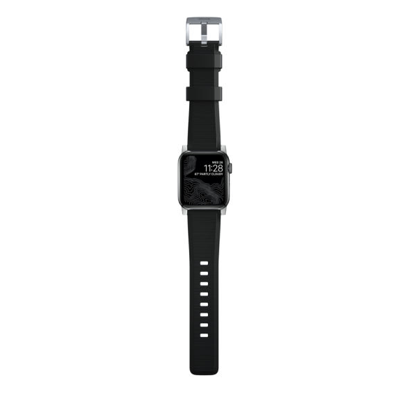 NOMAD Rugged Silicone Sports Strap(FKM) Apple Watch 40/38mm Silver HW 7