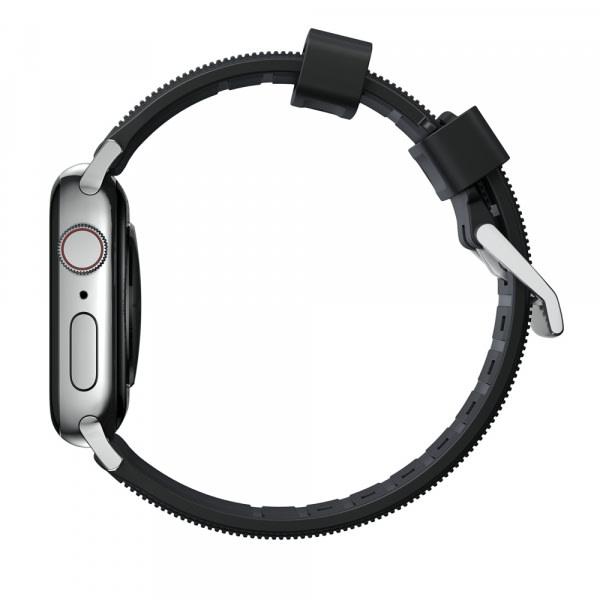 NOMAD Rugged Silicone Sports Strap(FKM) Apple Watch 40/38mm Silver HW 3
