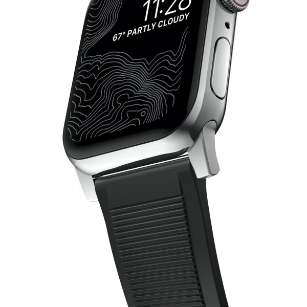 NOMAD Rugged Silicone Sports Strap(FKM) Apple Watch 40/38mm Silver HW 5