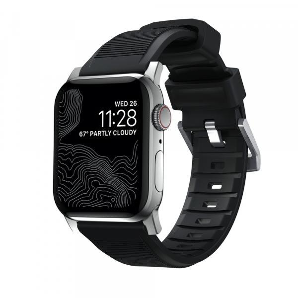 NOMAD Rugged Silicone Sports Strap(FKM) Apple Watch 40/38mm Silver HW 1
