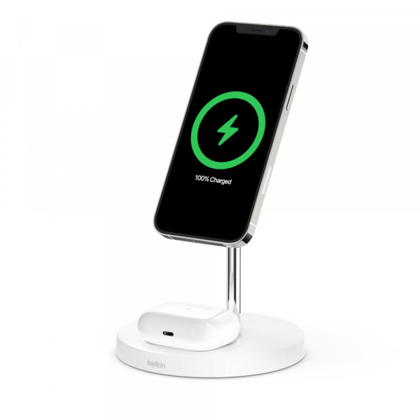 Belkin BOOST CHARGE PRO 2-in-1 MagSafe Charger - White - 3-UK Pin 1