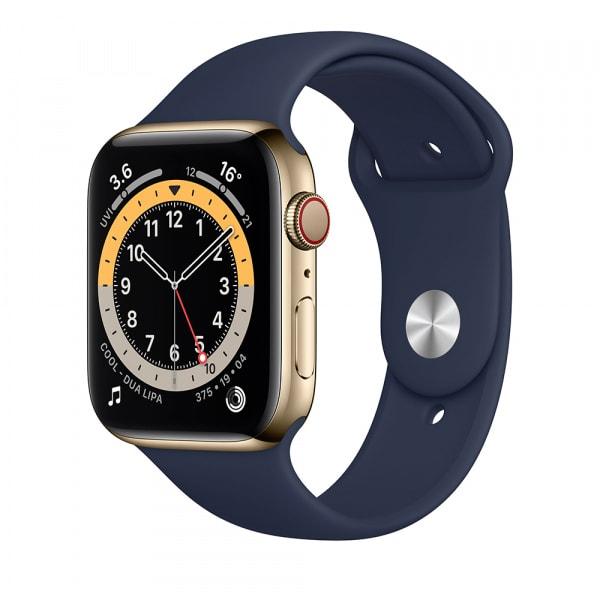 Apple Watch Series 6 GPS + Cellular 44mm Gold S. Steel Case Deep Navy Sport Band 0