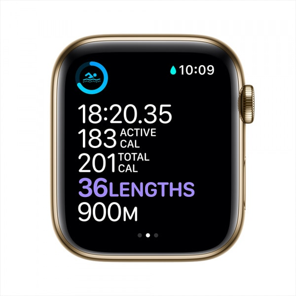 Apple Watch Series 6 GPS + Cellular 44mm Gold S. Steel Case Deep Navy Sport Band 3