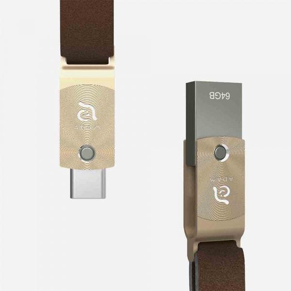 ADAM ELEMENTS Roma USB C to USB 3.0 OTG 64GB Flash Drive - Gold 1
