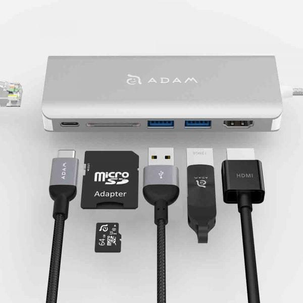 ADAM ELEMENTS Casa A01 USB C 6-in-1 Hub - Silver 2