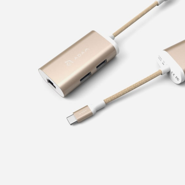 ADAM ELEMENTS Casa eC301 USB C 3-in-1 Hub - Gold 1