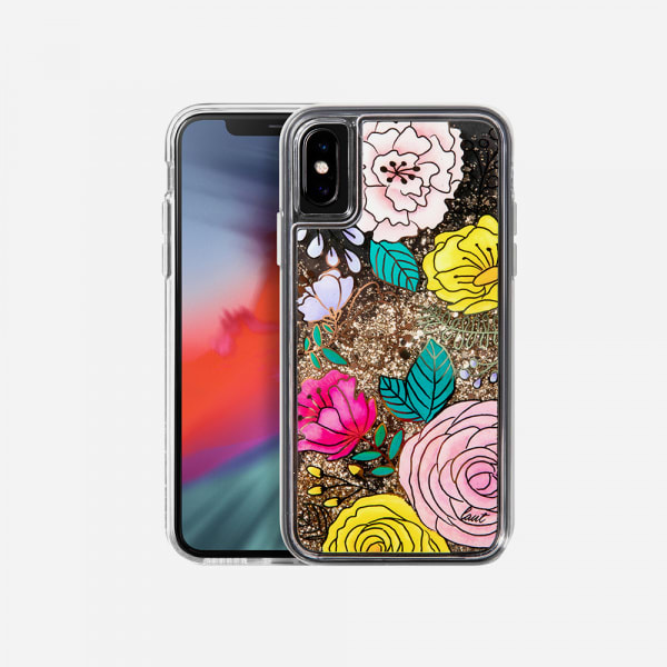 LAUT Liquid Glitter Case for iPhone XS Max - Glitter Floral 0