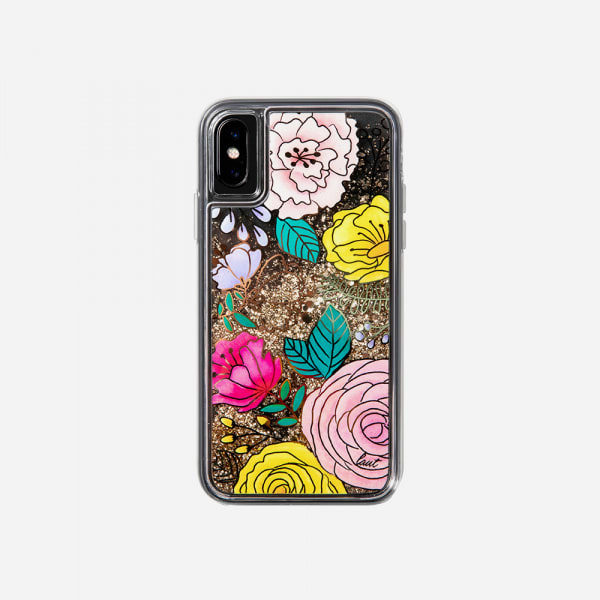 LAUT Liquid Glitter Case for iPhone XS Max - Glitter Floral 1