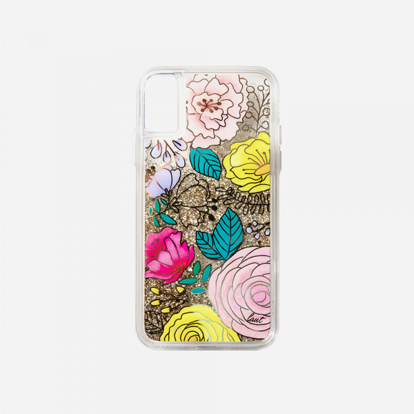 LAUT Liquid Glitter Case for iPhone XS Max - Glitter Floral 3