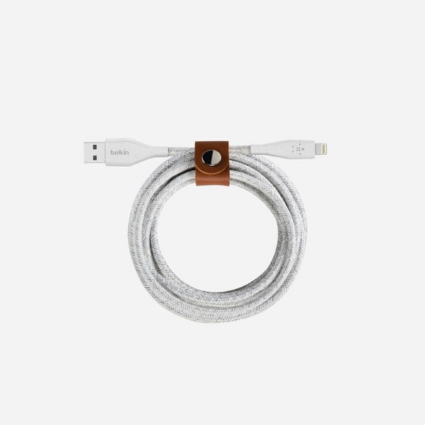 BELKIN Duratek Plus Lightning to USB-A Cable with Strap 4ft - White 2