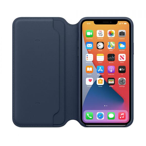 iPhone 11 Pro Max Leather Folio - Deep Sea Blue 4