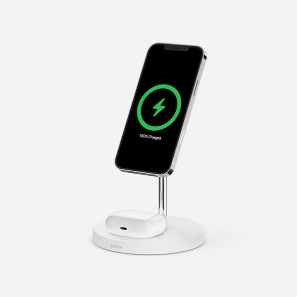 BELKIN 2-in-1 MagSafe 15W Wireless Charging Stand - White 0