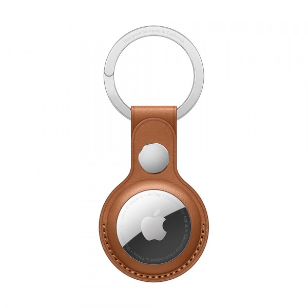 AirTag Leather Key Ring - Saddle Brown 0