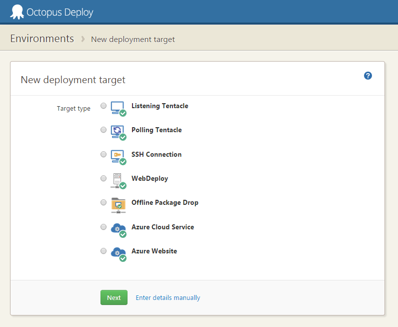 New deployment target dialog for Octopus 3.0