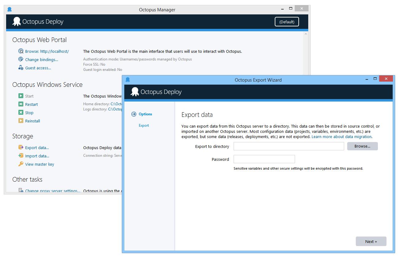 Exporter UI in Octopus 3.0