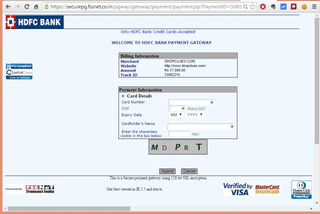 HDFC bank credit card EMI options