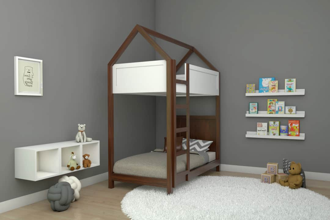 Cama casita litera individual montessori color nogal muebles infantiles DECEN