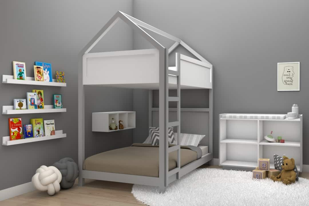Cama casita litera individual montessori color gris muebles infantiles DECEN
