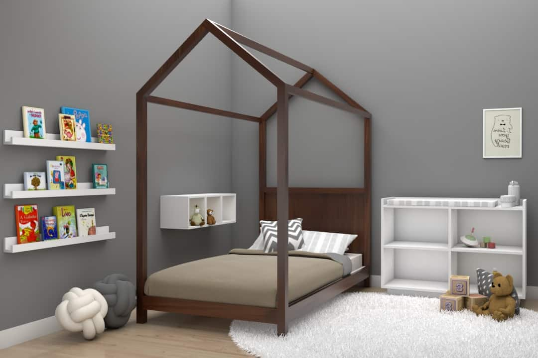 Cama casita individual montessori color nogal muebles infantiles DECEN