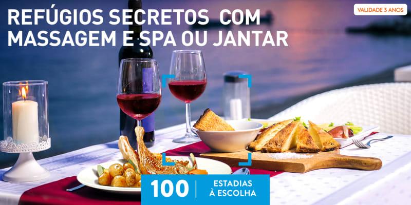 Refúgios Secretos com Massagem e SPA ou Jantar   100 Estadias à Escolha