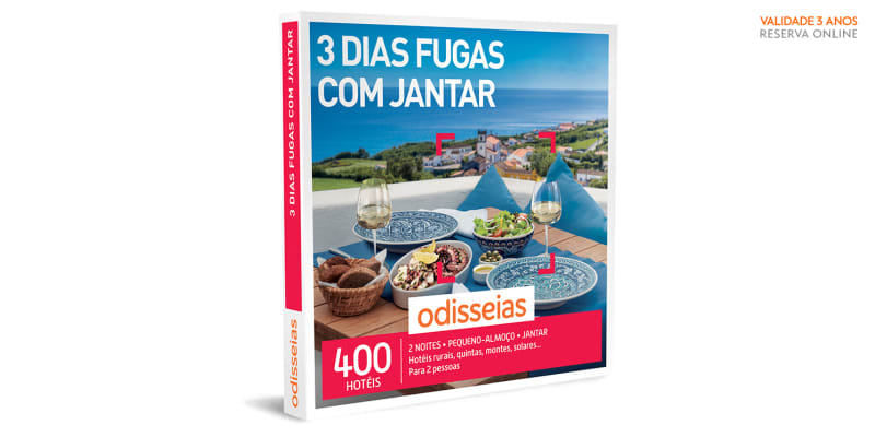 3 Dias Fugas com Jantar | 400 Hotéis