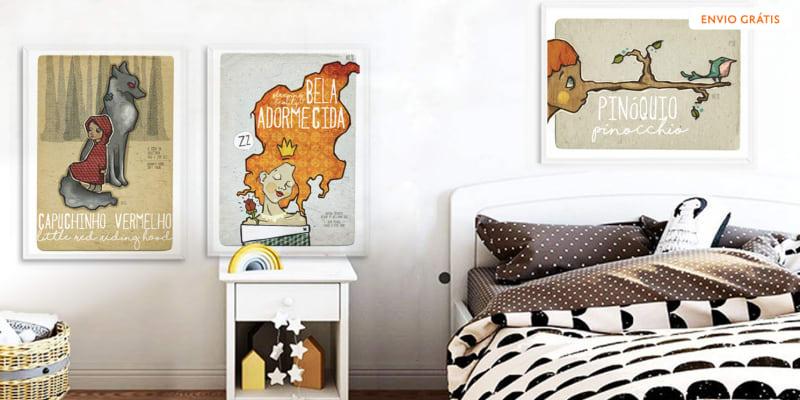 Conjunto de 3 Posters de Contos Infantis - Bela Adormecida, Pinóquio e Capuchinho Vermelho! Entrega Grátis