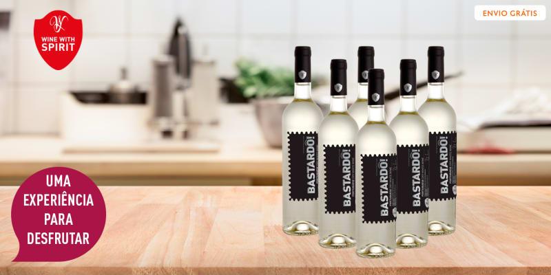 6 Garrafas de Vinho Bastardô! Black Edition Branco | Entrega Grátis! Wine With Spirit