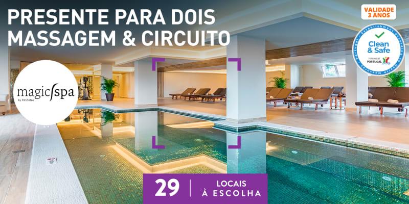 Presente S. Valentim: Massagem a Dois 45 Min + Circuito + Rituais   Magic Spa by Pestana   29 Locais