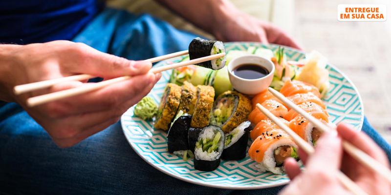 Entrega Grátis em Casa | 42 Peças de Sushi para Partilhar | Lábios de Mosto